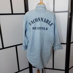 Faconnable Seattle print light denim button shirt
